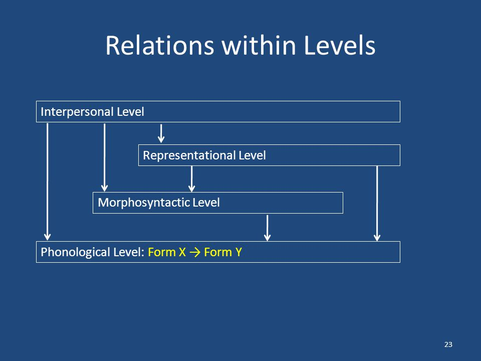 Relations within Levels 23 Interpersonal Level Representational Level Morphosyntactic Level Phonological Level: Form X → Form Y