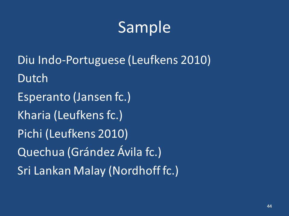 Sample Diu Indo-Portuguese (Leufkens 2010) Dutch Esperanto (Jansen fc.) Kharia (Leufkens fc.) Pichi (Leufkens 2010) Quechua (Grández Ávila fc.) Sri Lankan Malay (Nordhoff fc.) 44