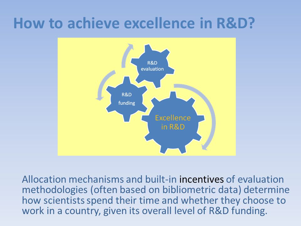 Allocation mechanisms and built-in incentives of evaluation methodologies (often based on bibliometric data) determine how scientists spend their time and whether they choose to work in a country, given its overall level of R&D funding.
