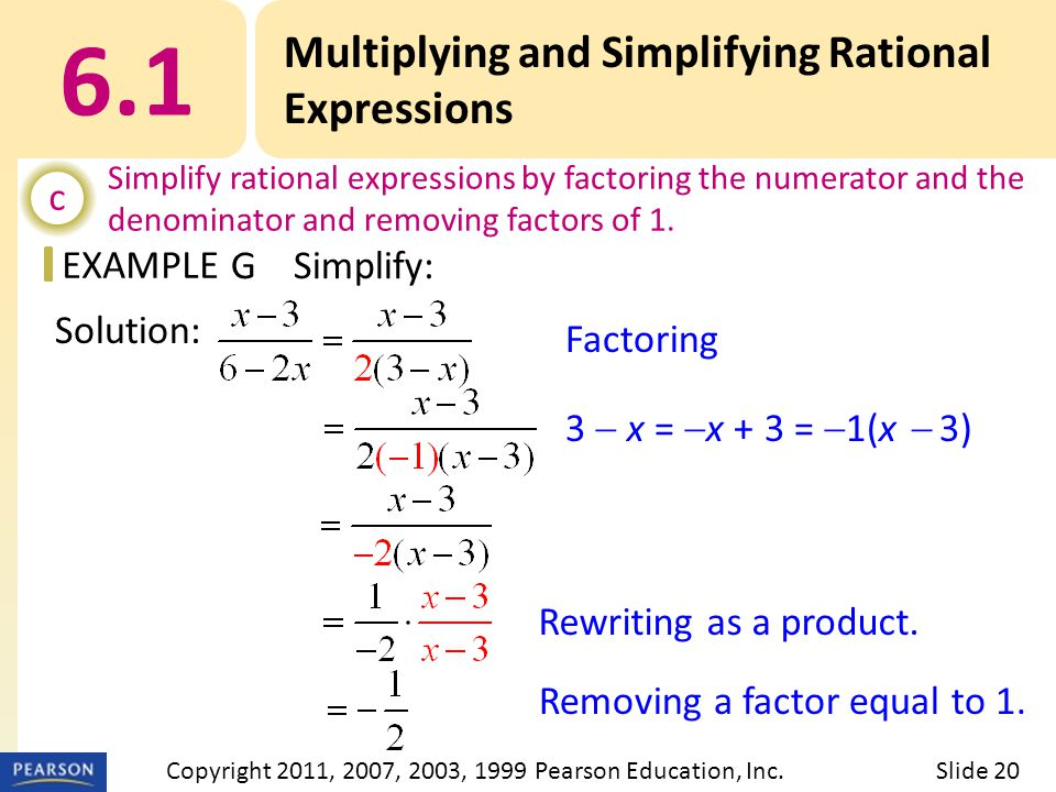 EXAMPLE Factoring 3  x =  x + 3 =  1(x  3) Rewriting as a product.