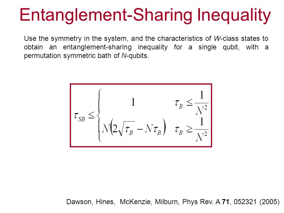Entanglement-Sharing Inequality Dawson, Hines, McKenzie, Milburn, Phys Rev. A 71, 052321 (2005) Use the symmetry in the system, and the characteristic