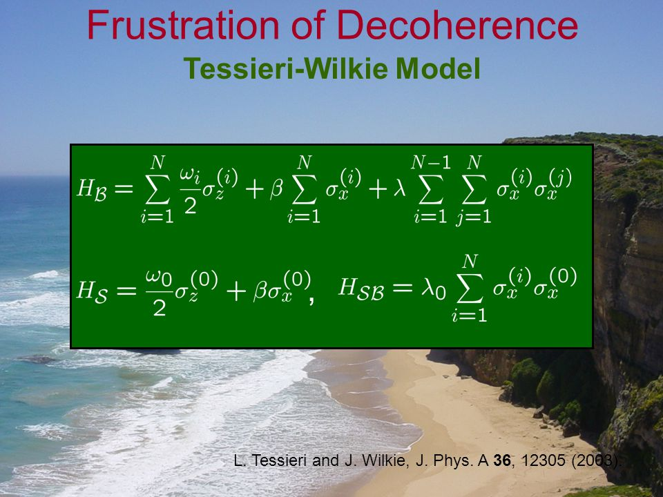 Tessieri-Wilkie Model Frustration of Decoherence, L. Tessieri and J. Wilkie, J. Phys. A 36, 12305 (2003).
