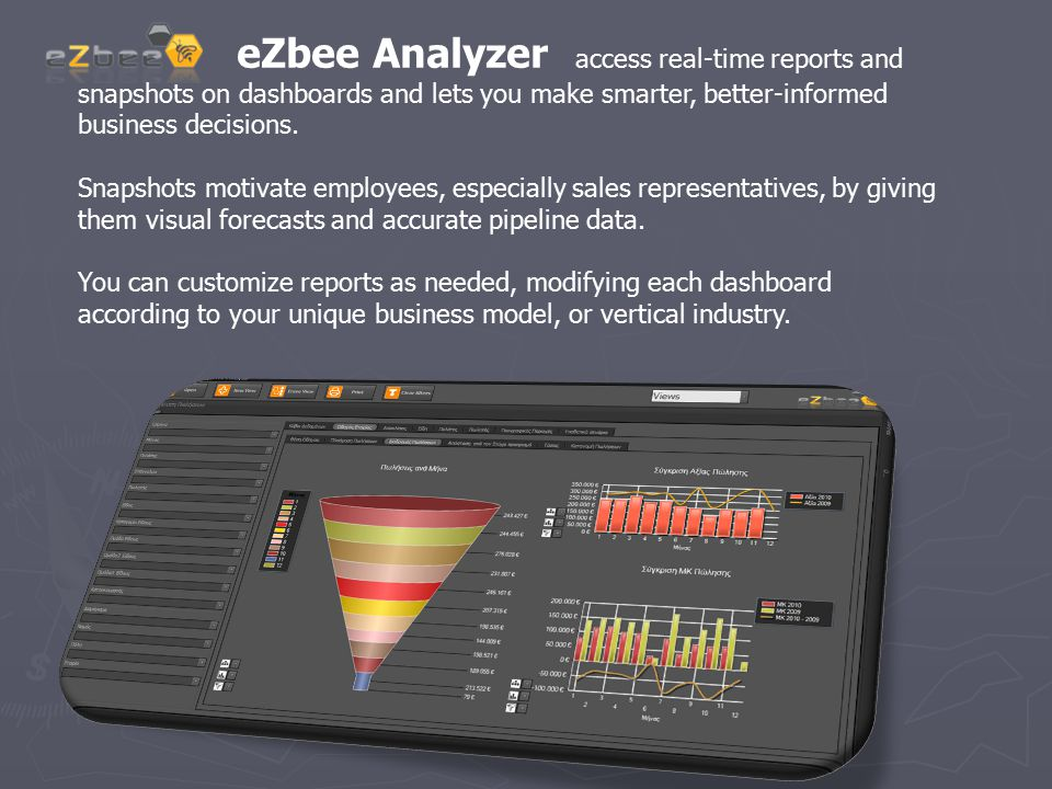eZbee Analyzer access real-time reports and snapshots on dashboards and lets you make smarter, better-informed business decisions. Snapshots motivate