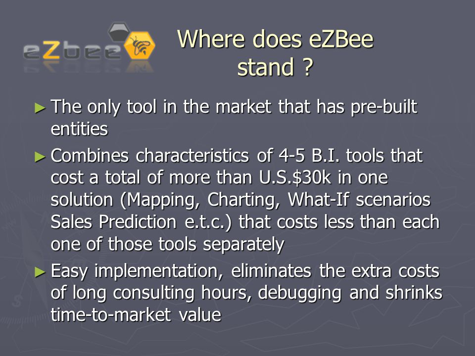 Where does eZBee stand ? ► The only tool in the market that has pre-built entities ► Combines characteristics of 4-5 B.I. tools that cost a total of m