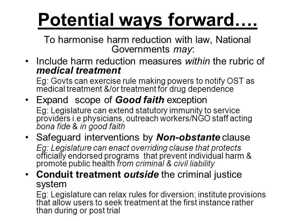 Potential ways forward….