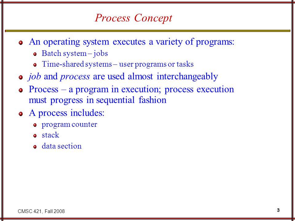 CMSC 421, Fall 2008 4 Process in Memory