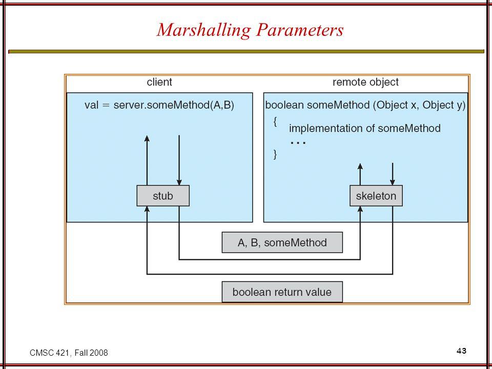 CMSC 421, Fall 2008 43 Marshalling Parameters