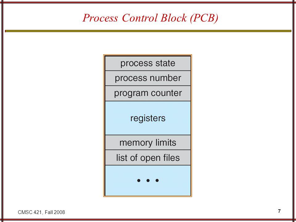 CMSC 421, Fall 2008 7 Process Control Block (PCB)