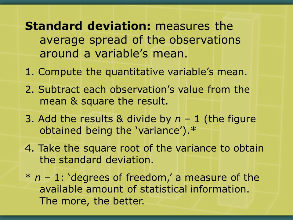 Standard deviation: measures the average spread of the observations around a variable's mean.