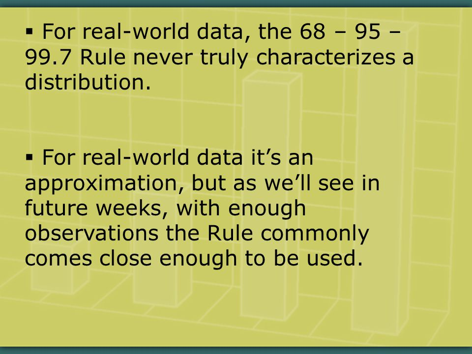  For real-world data, the 68 – 95 – 99.7 Rule never truly characterizes a distribution.