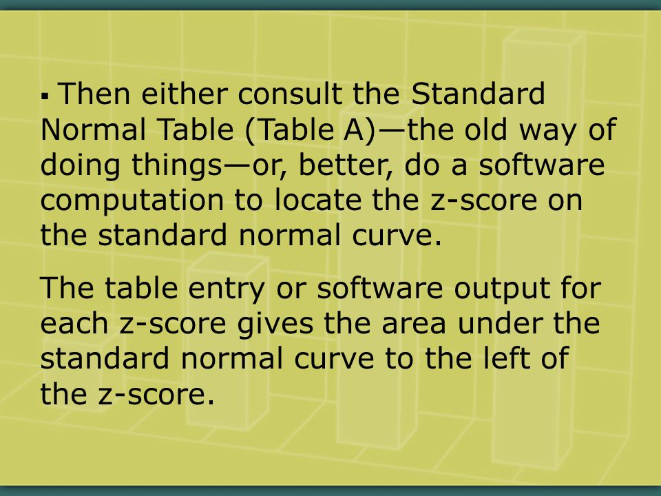  Then either consult the Standard Normal Table (Table A)—the old way of doing things—or, better, do a software computation to locate the z-score on the standard normal curve.