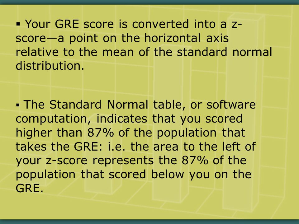  Your GRE score is converted into a z- score—a point on the horizontal axis relative to the mean of the standard normal distribution.