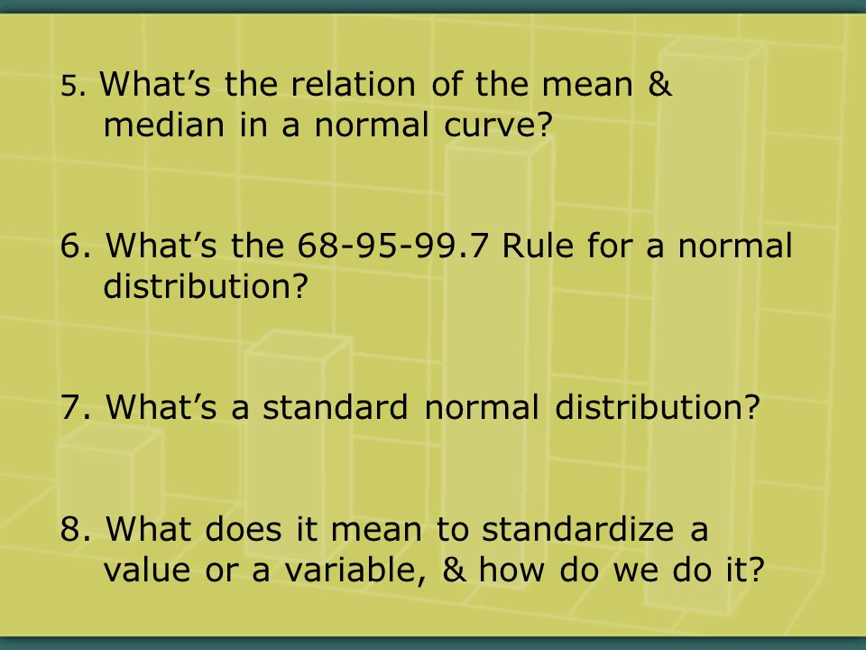5.What's the relation of the mean & median in a normal curve.
