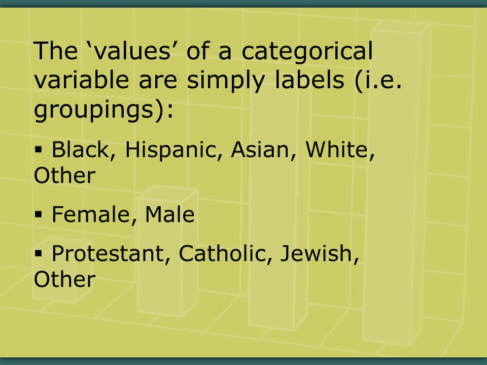 The 'values' of a categorical variable are simply labels (i.e.