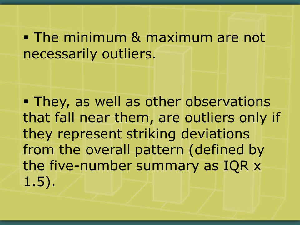  The minimum & maximum are not necessarily outliers.