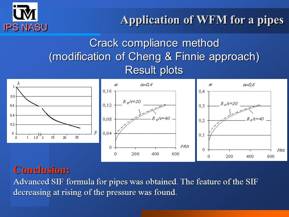 IPS NASU Application of the developed methods: Software WFM Application of the developed methods: Software WFM SIF, grow of the crack dimensions in time and endurance are calculated.