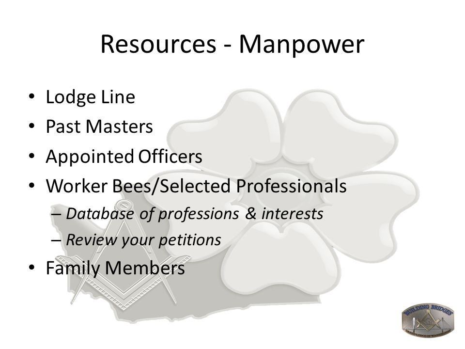 Resources - Manpower Lodge Line Past Masters Appointed Officers Worker Bees/Selected Professionals – Database of professions & interests – Review your
