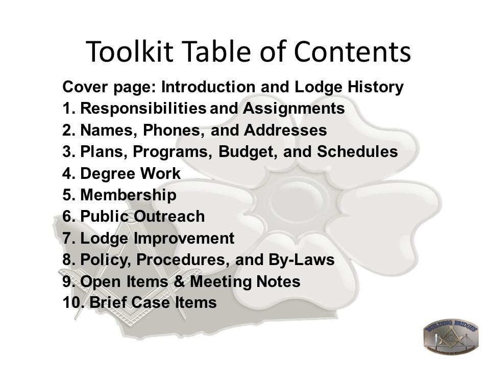 Toolkit Table of Contents Cover page: Introduction and Lodge History 1. Responsibilities and Assignments 2. Names, Phones, and Addresses 3. Plans, Pro