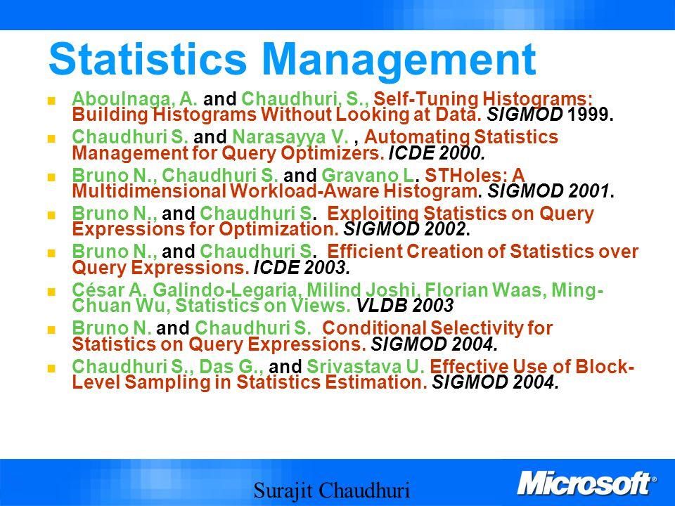 Surajit Chaudhuri 69 Statistics Management Aboulnaga, A.
