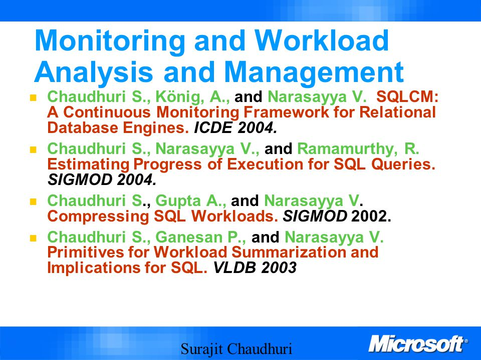 Surajit Chaudhuri 70 Monitoring and Workload Analysis and Management Chaudhuri S., König, A., and Narasayya V.