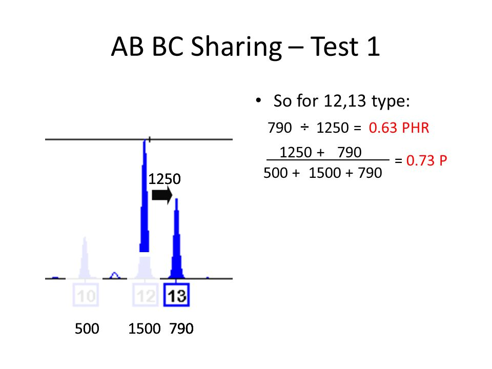 AB BC Sharing – Test 1 So for 12,13 type: 5001500790 1250 790 1250 ÷= 0.63 PHR 1250 + 790500 + 1500 + 790 = 0.73 P 790 1250 5001500