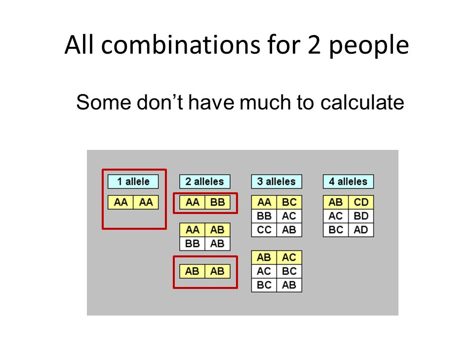 All combinations for 2 people Some don't have much to calculate