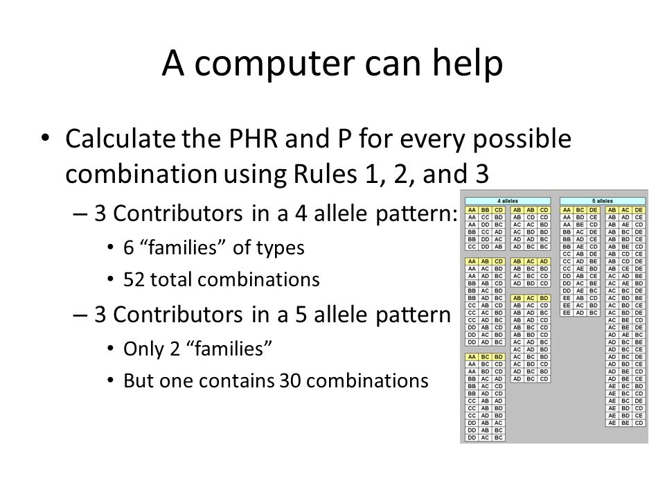 A computer can help Calculate the PHR and P for every possible combination using Rules 1, 2, and 3 – 3 Contributors in a 4 allele pattern: 6 families of types 52 total combinations – 3 Contributors in a 5 allele pattern Only 2 families But one contains 30 combinations