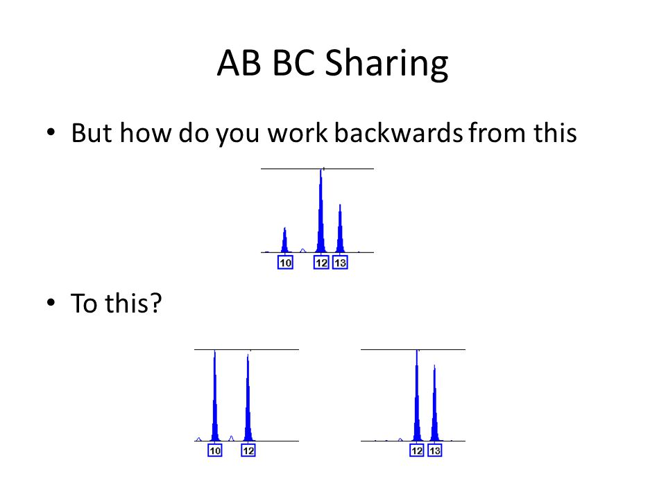 AB BC Sharing Validation studies give PHR expectations – These expectations show up in protocols for interpretation – Used in setting stochastic thresholds – Used in determining number of contributors At times you may have a major contributor that helps At times you can assume a contributor