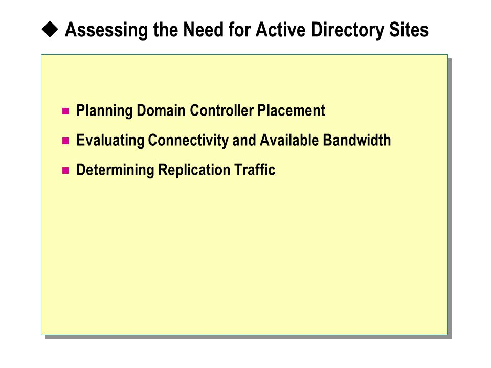  Assessing the Need for Active Directory Sites Planning Domain Controller Placement Evaluating Connectivity and Available Bandwidth Determining Replication Traffic