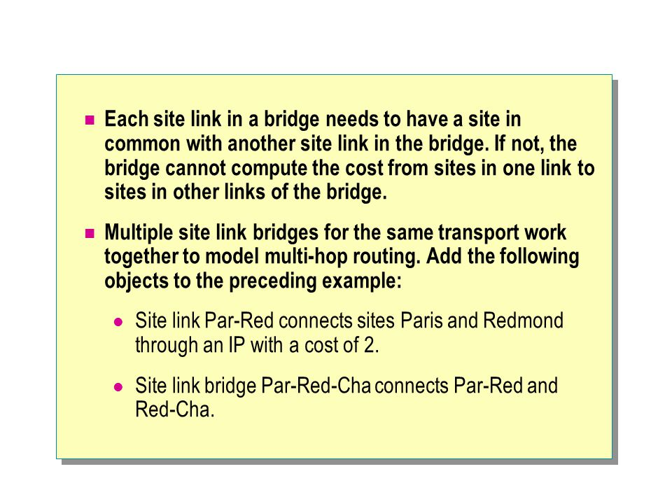 Each site link in a bridge needs to have a site in common with another site link in the bridge.