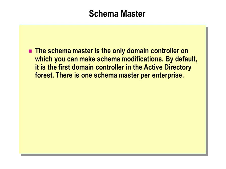 Schema Master The schema master is the only domain controller on which you can make schema modifications.