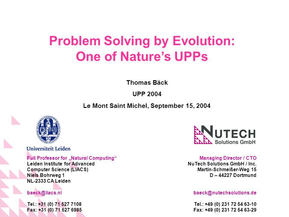 Managing Director / CTO NuTech Solutions GmbH / Inc. Martin-Schmeißer-Weg 15 D – 44227 Dortmund baeck@nutechsolutions.de Tel.: +49 (0) 231 72 54 63-10
