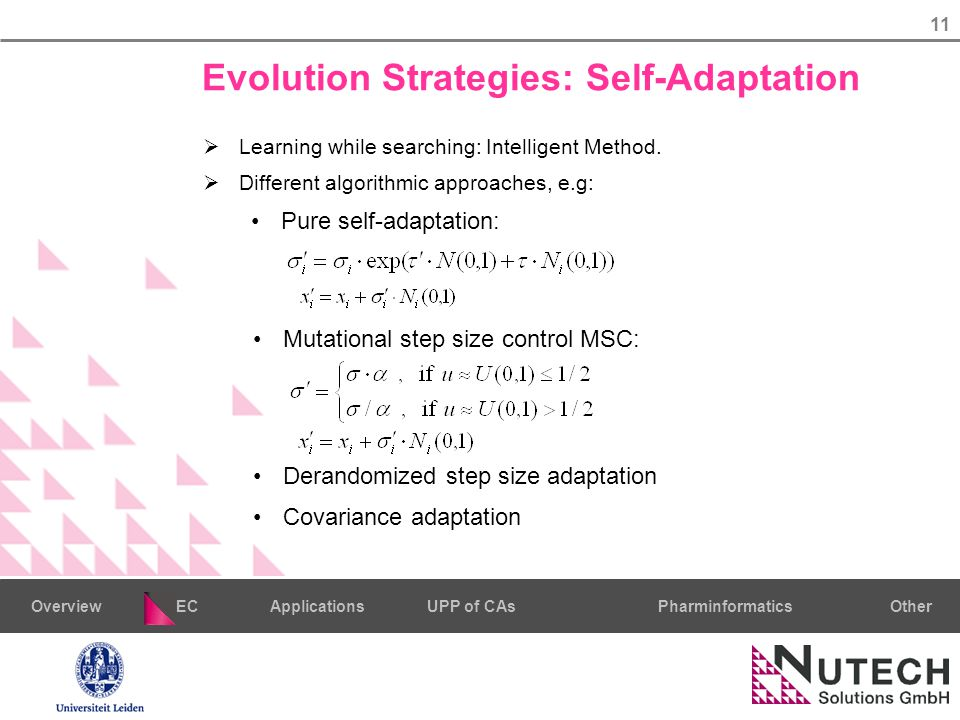 11 PharminformaticsOtherECUPP of CAsApplicationsOverview Evolution Strategies: Self-Adaptation  Learning while searching: Intelligent Method.