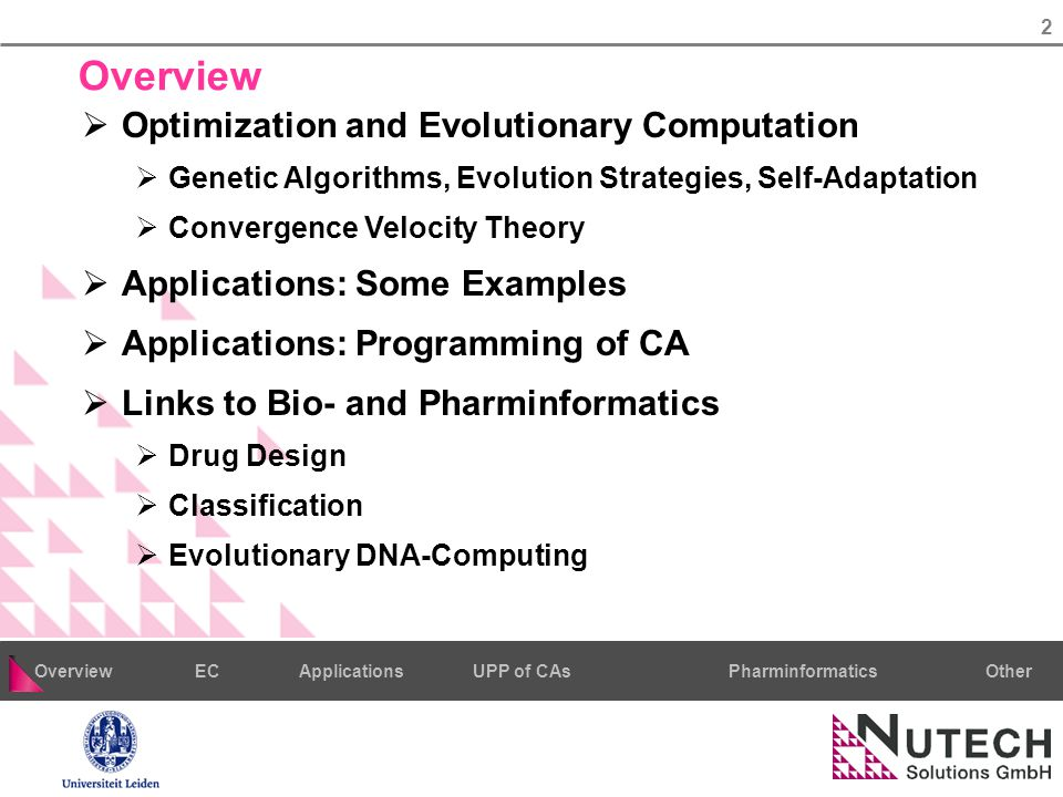 3 PharminformaticsOtherECUPP of CAsApplicationsOverview Natural Computing  Computing Paradigms after Natural Models  NN, EC, Simulated Annealing, Swarm & Ant Algorithms, DNA Computing, Quantum Computing, CA,...