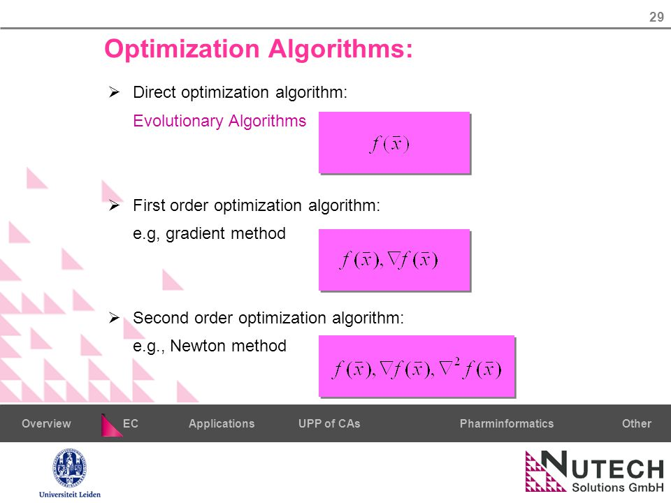 29 PharminformaticsOtherECUPP of CAsApplicationsOverview Optimization Algorithms:  Direct optimization algorithm: Evolutionary Algorithms  First order optimization algorithm: e.g, gradient method  Second order optimization algorithm: e.g., Newton method