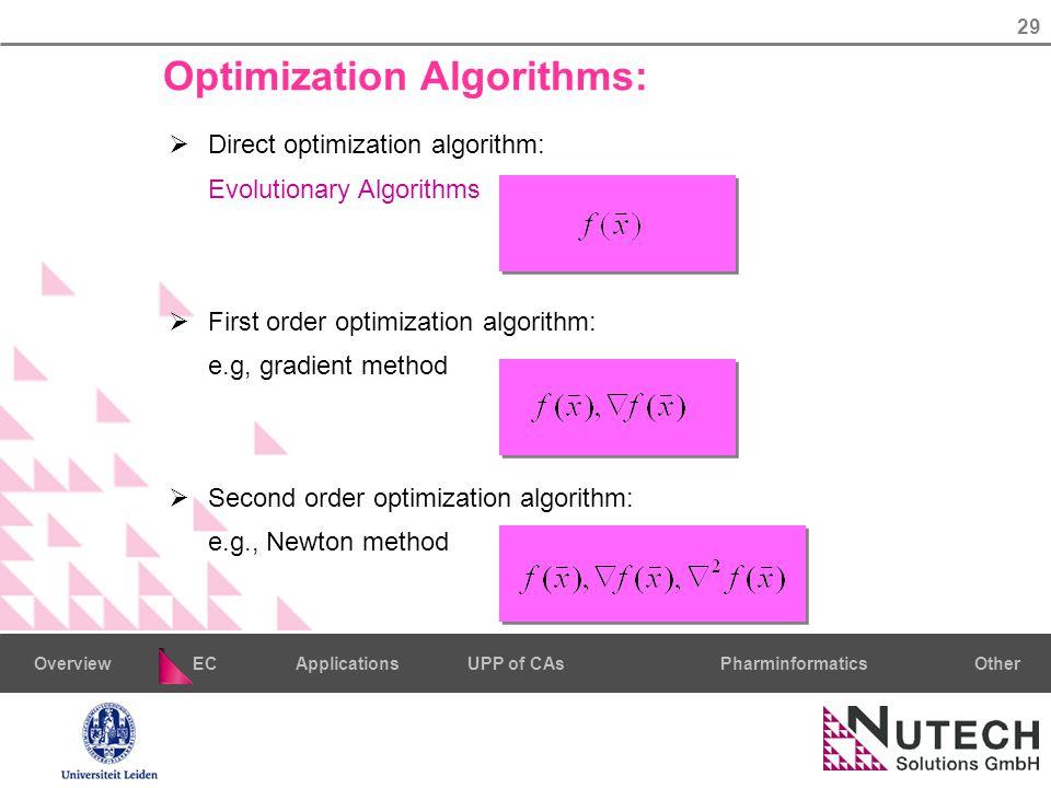 29 PharminformaticsOtherECUPP of CAsApplicationsOverview Optimization Algorithms:  Direct optimization algorithm: Evolutionary Algorithms  First order optimization algorithm: e.g, gradient method  Second order optimization algorithm: e.g., Newton method