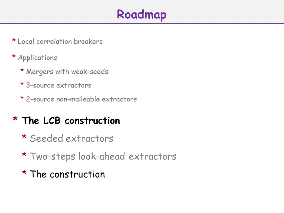 Roadmap * The LCB construction * Seeded extractors * Two-steps look-ahead extractors * The construction