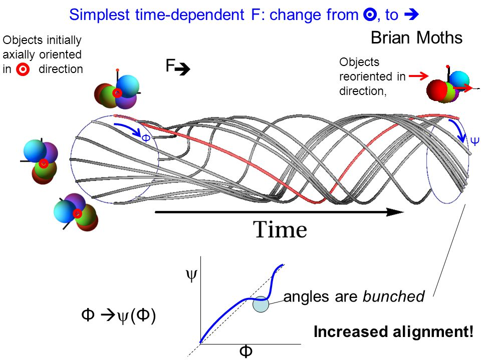 Simplest time-dependent F: change from, to  Brian Moths  Φ   (Φ)  Φ angles are bunched Increased alignment! Objects initially axially oriented in