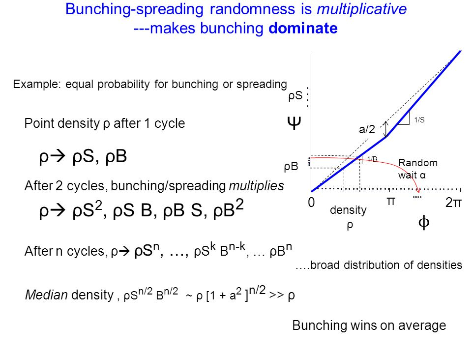 Bunching-spreading randomness is multiplicative ---makes bunching dominate Bunching wins on average Ψ 0 π 2π 1/B 1/S density ρ ρB ρS ϕ Example: equal