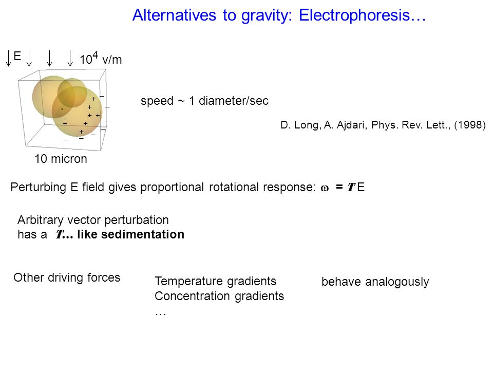 Alternatives to gravity: Electrophoresis… Perturbing E field gives proportional rotational response:  = T E 10 micron E 10 4 v/m + ++ + + + + D. Long