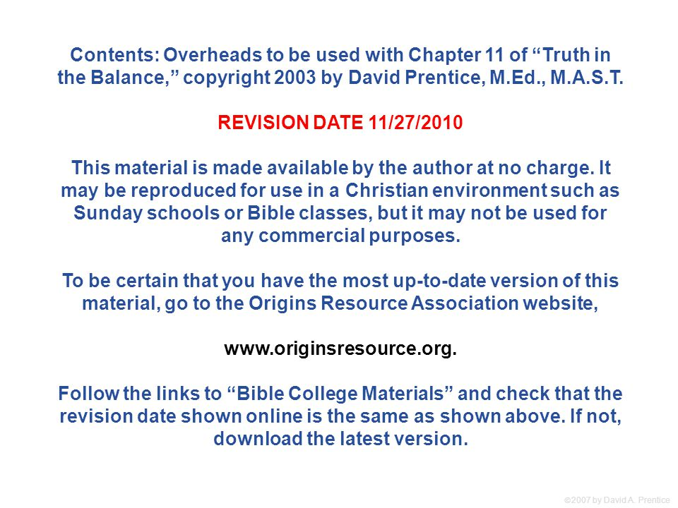 Contents: Overheads to be used with Chapter 11 of Truth in the Balance, copyright 2003 by David Prentice, M.Ed., M.A.S.T.