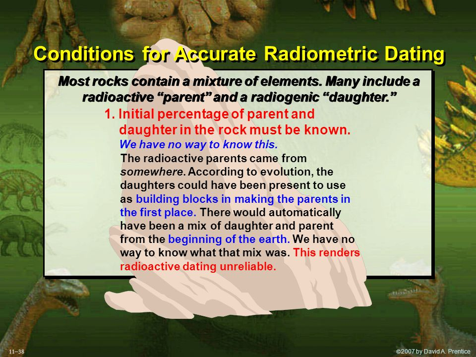  2007 by David A. Prentice Conditions for Accurate Radiometric Dating 1.