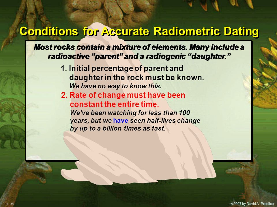 """ 2007 by David A. Prentice Conditions for Accurate Radiometric Dating Most rocks contain a mixture of elements. Many include a radioactive """"parent"""""""