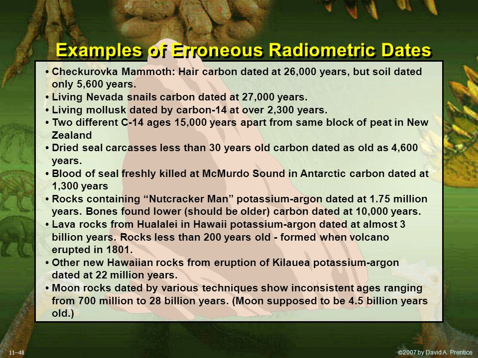 2007 by David A. Prentice Examples of Erroneous Radiometric Dates Checkurovka Mammoth: Hair carbon dated at 26,000 years, but soil dated only 5,600
