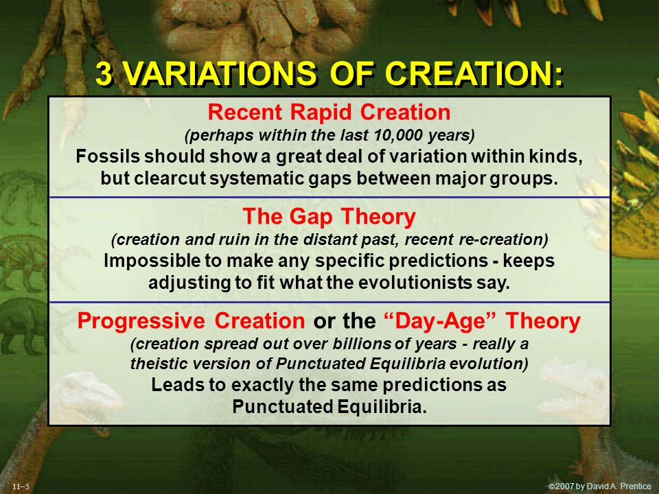  2007 by David A. Prentice 3 VARIATIONS OF CREATION: 3 VARIATIONS OF CREATION: Recent Rapid Creation (perhaps within the last 10,000 years) Fossils