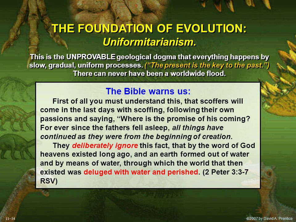  2007 by David A. Prentice THE FOUNDATION OF EVOLUTION: Uniformitarianism.