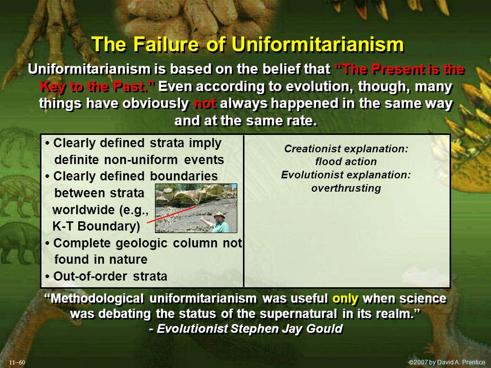 """ 2007 by David A. Prentice The Failure of Uniformitarianism Uniformitarianism is based on the belief that """"The Present is the Key to the Past."""" Even"""