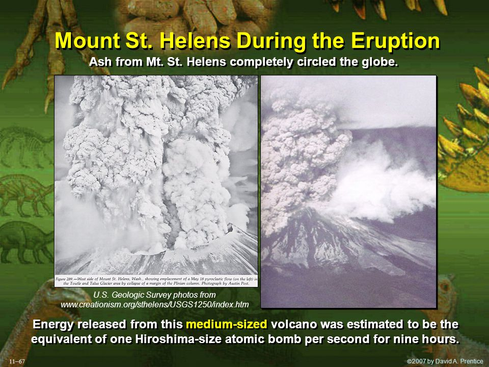  2007 by David A. Prentice Mount St. Helens During the Eruption Ash from Mt.