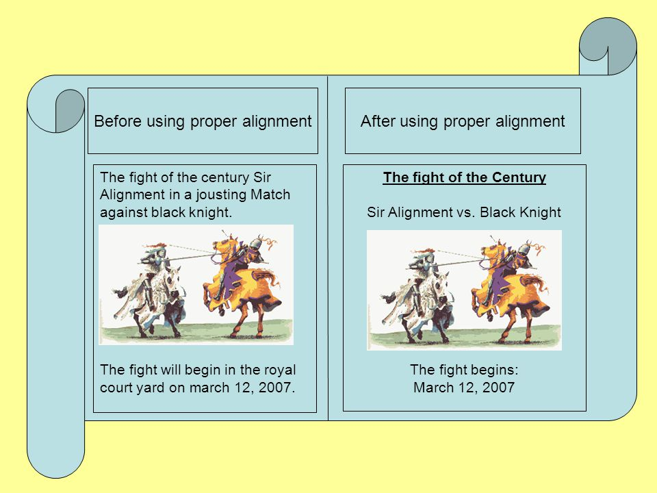 Sir Alignment The basic rule of thumb is to align everything the same way. If one part of the page is flushed left, make sure every other part of the