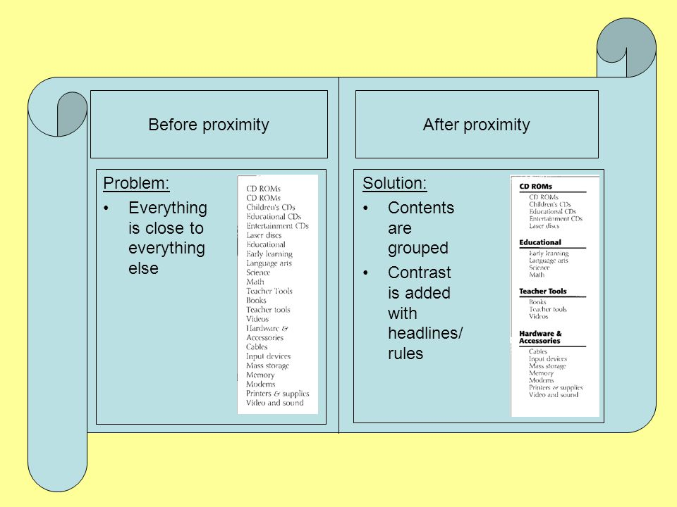 Before proximityAfter proximity Problems:  The two items in top left are in close proximity but not related  Gaps separate related items Solution: R
